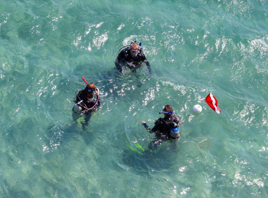 Scuba divers in open water