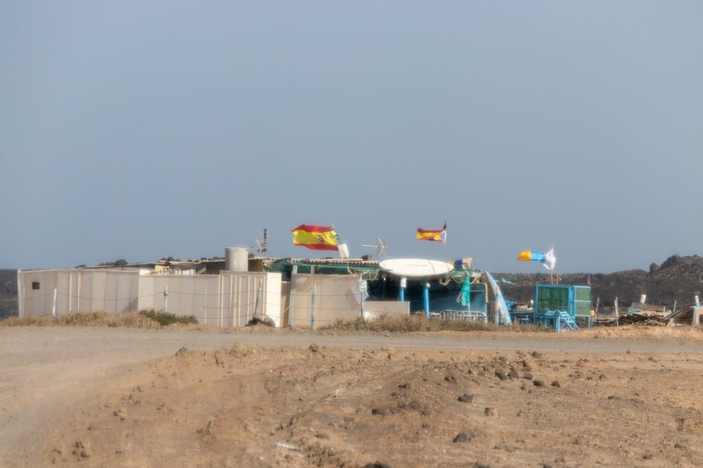 Spanish flags waving in Fuerteventura