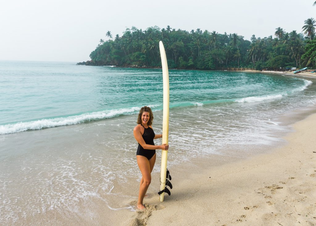 Learning how to surf in Sri Lanka